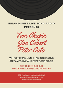 Tom Chapin Jon Cobert Peter Calo On BRIAN MUNI039S NEXT LIVE SONG RADIO