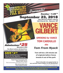 Vance Gilbert in Concert with Tom From Nyack as Special Guest