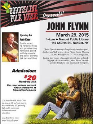 Borderline Folk Music presents John Flynn nbspOpening act Judy Kass
