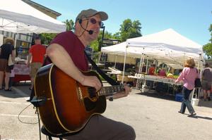 Steve Scholle on stage at the Maria Regina School Fair