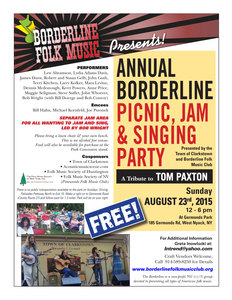 Borderline Folk Annual Picnic Jam amp Singing Party