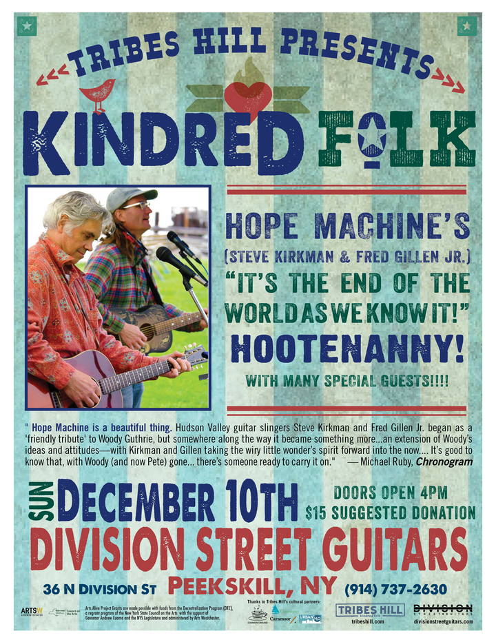 Tribes Hill Presents the 12th Annual Hope Machine Hootenanny  Sunday Dec 10th at Division Street Guitars