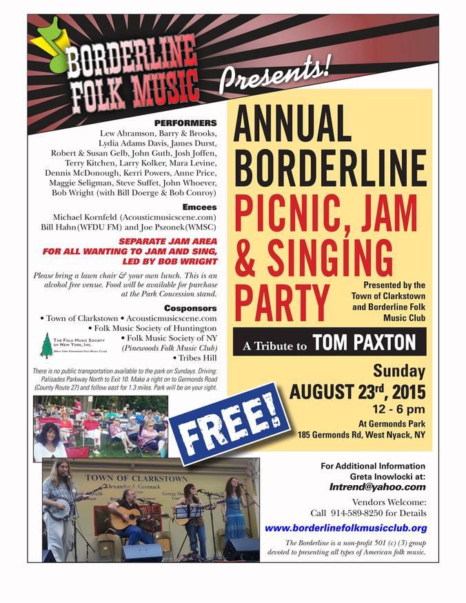 Annual Borderline Picnic Sunday August 23 12 - 6 pm