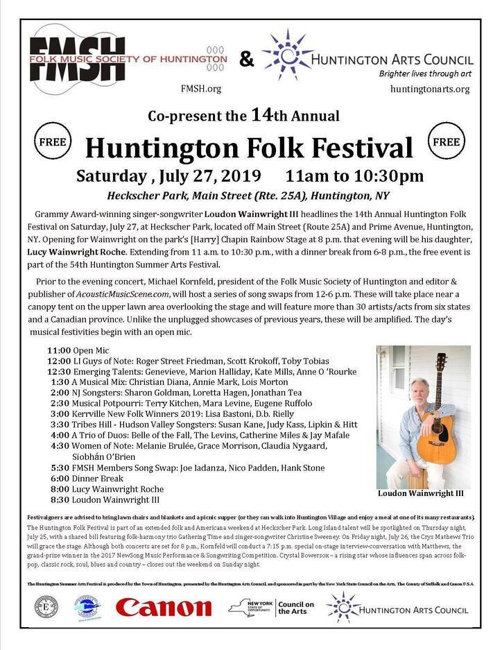 14th Annual Huntington Folk Festival  Saturday July 27th