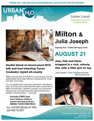 Tribes Hill brings Julia Joseph and Milton to Urban H2O on Saturday August 21st at the Beczak in Yonkers